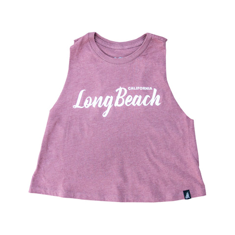 Cursive Long Beach Women's Heather Mauve Crop Racerback Tank