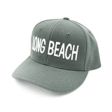 Long Beach Block Letter White On Grey Dad Snapback
