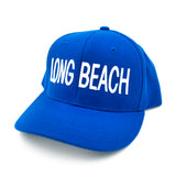 Long Beach Block Letter White On Royal Dad Snapback