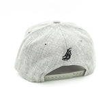 Cursive LB Black On Heather Grey Baseball Snapback