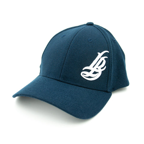 Cursive LB White On Navy Flexfit Baseball Hat