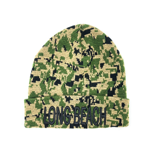 Block Letter Digital Camo Long Beanie