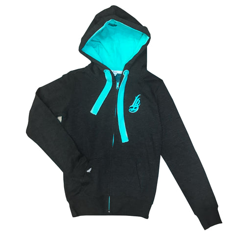 Cursive LB Fat Lace Dark Grey/Teal Women's Zip Up Hoodie