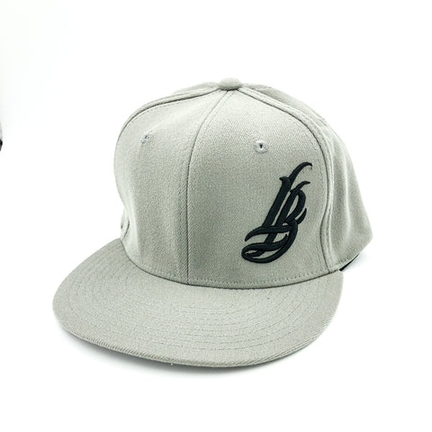 Cursive LB Black On Grey Flexfit Hat