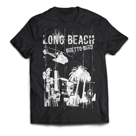 Long Beach Ghetto Bird 2.0 Men's Black T-Shirt
