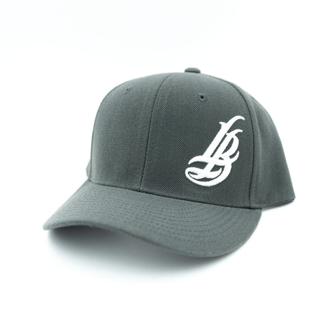 Cursive LB White On Dark Grey Dad Hat