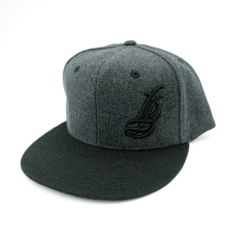 Cursive LB Grey Wool/Black Snapback