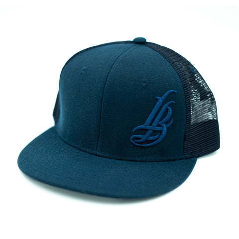 Cursive LB All Navy Trucker Snapback