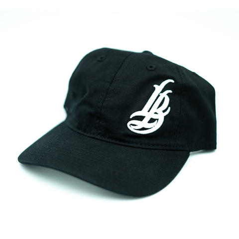 Cursive LB White On Black Unstructured Dad Hat