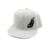 Cursive LB Black On Heather Grey Snapback