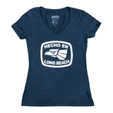 Hecho En Long Beach Women's Indigo V-Neck
