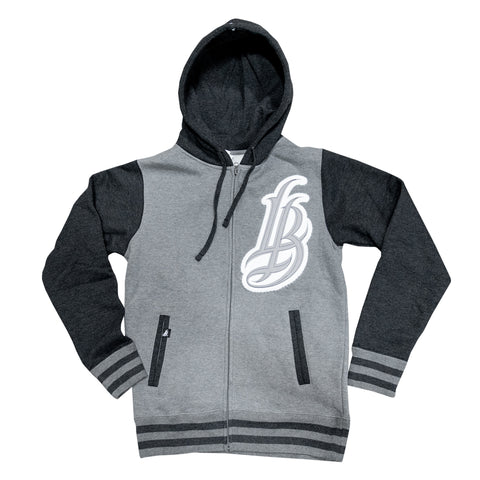 LB Patch Men's Gun HT/Charcoal HT Varsity Zip Up Hoodie