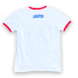 LBCEE Women's White/Red Ringer T-Shirt