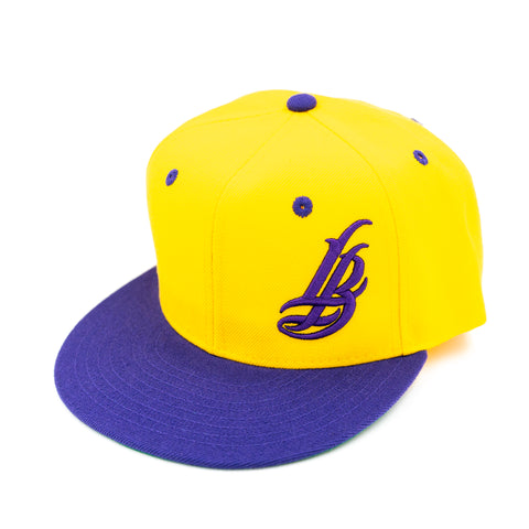 Cursive LB Purple and Gold Snapback