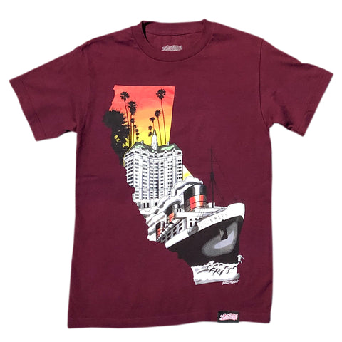 Left Coast Men's Burgundy T-Shirt