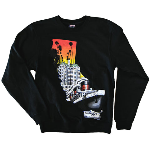 Left Coast Men's Crew Neck Sweater Black