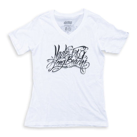 Made In Long Beach Script Women's White V-Neck