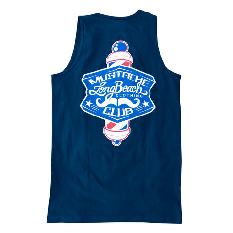 Mustache Club Men's Navy Tank Top