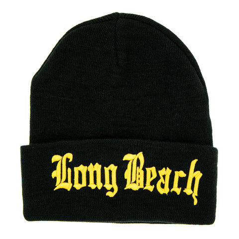 Old English Black/Gold Long Beanie
