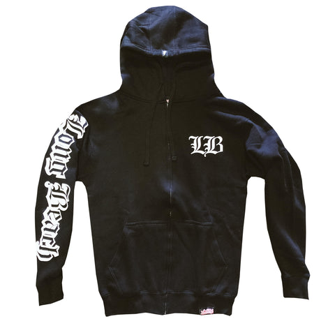 Old English Men's Black Zip Up Hoodie