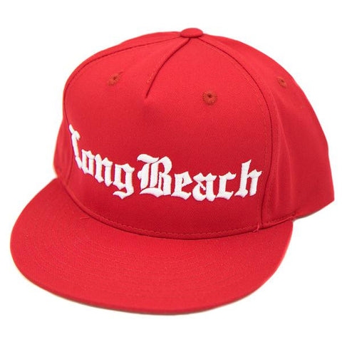 Old English Long Beach Red Snapback