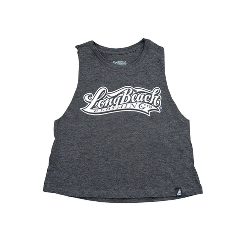 OG Logo Women's Dark Grey Heather Crop Racerback Tank