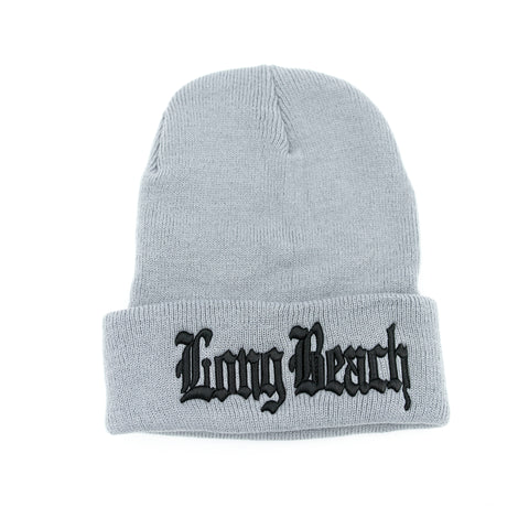 Old English Black On Grey Long Beanie