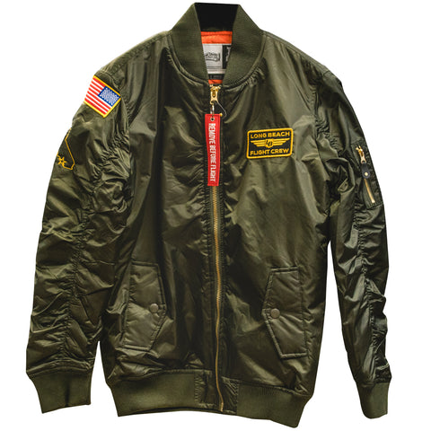 Long Beach Flight Crew Bomber Jacket Olive