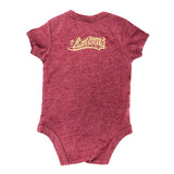 Long Beach Legend Cranberry Heather Baby Onesie