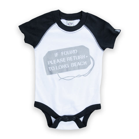 If Found White/Black Raglan Baby Onesie