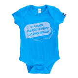 If Found Heather Turquoise Baby Onesie