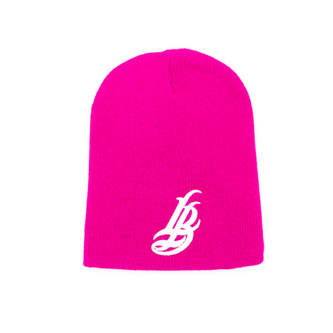 Cursive LB Hot Pink Short Beanie