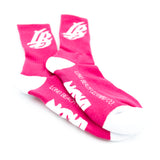 Cursive LB Hot Pink Long Beach Socks