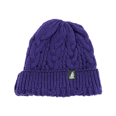 Minimalist Braided Knit Purple Beanie