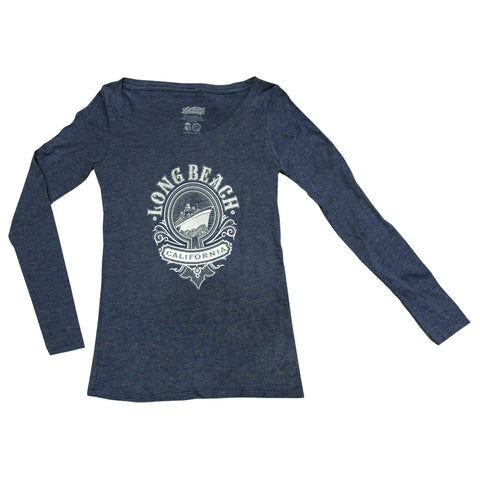 Cali Queen Women's Vintage Navy Long Sleeve T-Shirt