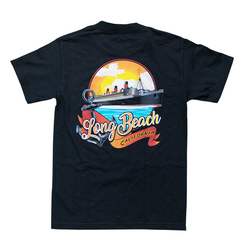 Queen Mary Sunset Men's Black T-Shirt