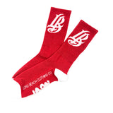 Cursive LB Red Long Beach Socks