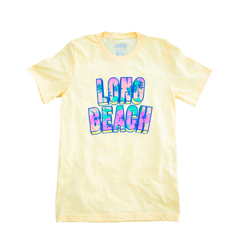 Long Beach Retro Floral Women's Gold T-Shirt