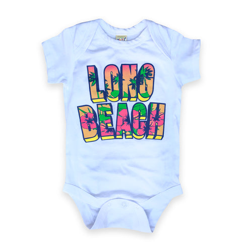 Long Beach Retro Floral White Onesie