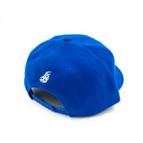 Cursive LB White On Royal Baseball Hat