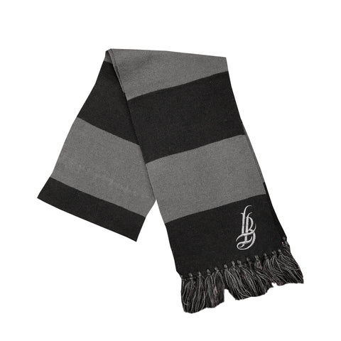 Cursive LB Grey/Black Striped Scarves