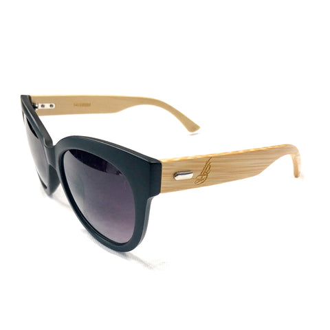 Round Women's Cursive LB Single Hit Bamboo Sunglasses