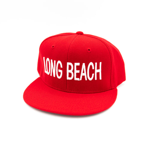 Long Beach Block Letter Red Snapback