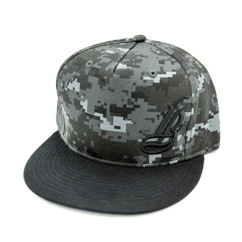 Cursive LB Dark Grey/Black Digital Camo Snapback