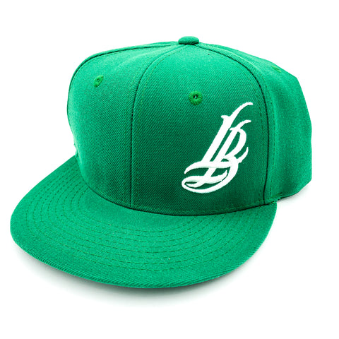 Cursive LB White On Green Snapback