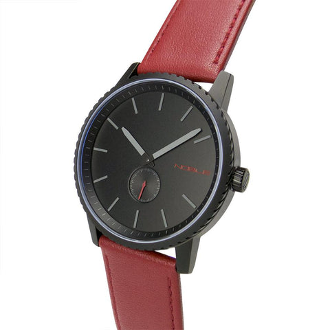 The Director 45mm Black with Red Leather Band