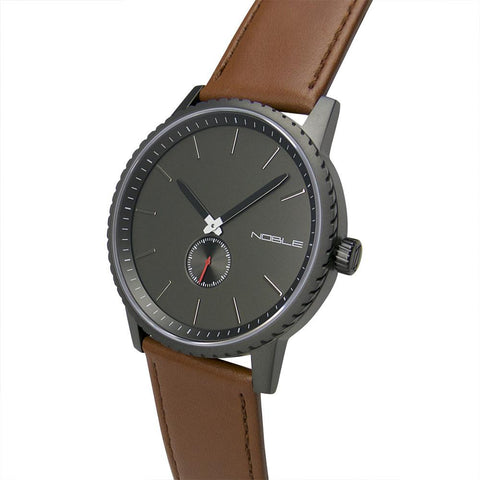 The Director 45mm Gun Metal with Tan Leather Band