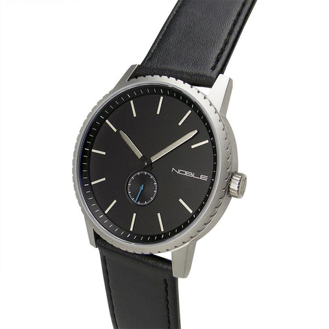 The Director 45mm Steel with Black Leather Band