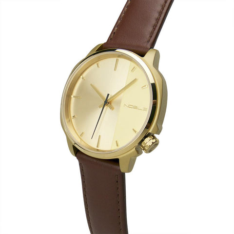Offset 41mm Gold with Brown Leather Band