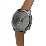 Offset 41mm Gun Metal with Tan Leather Band